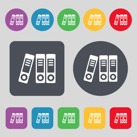 regulate: binders  icon sign. A set of 12 colored buttons. Flat design. Vector illustration Illustration