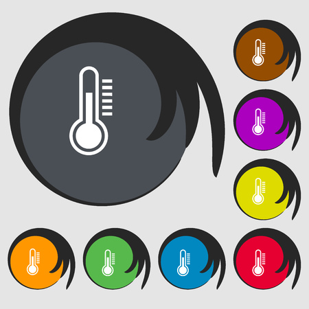 rising temperature: Thermometer icon. Symbols on eight colored buttons. Vector illustration Illustration