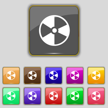 radioactive icon sign. Set with eleven colored buttons for your site. Vector illustration
