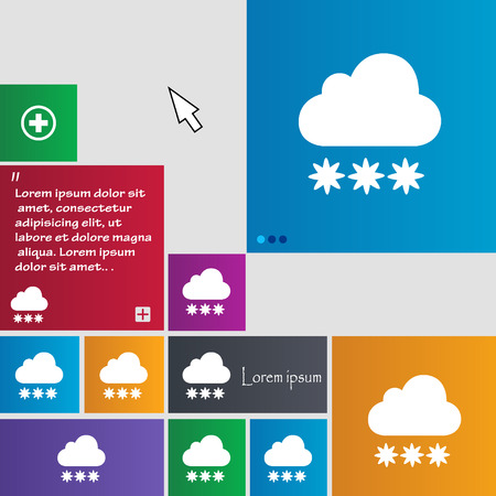 predict: snow cloud icon sign. buttons. Modern interface website buttons with cursor pointer. Vector illustration
