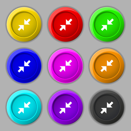 maximize: Exit full screen icon sign. symbol on nine round colourful buttons. Vector illustration