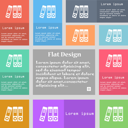 retain: binders  icon sign. Set of multicolored buttons with space for text. Vector illustration