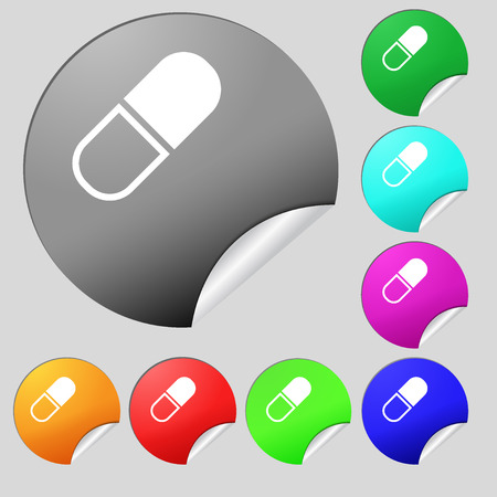 heartache: pill icon sign. Set of eight multi colored round buttons, stickers. Vector illustration
