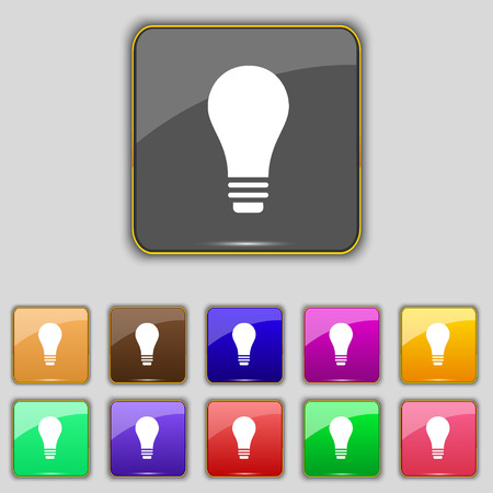 eleven: Light bulb icon sign. Set with eleven colored buttons for your site. Vector illustration