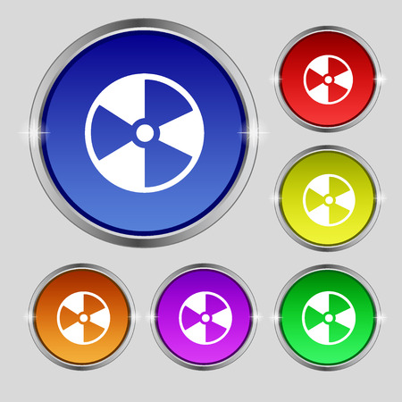 barrels with nuclear waste: radioactive icon sign. Round symbol on bright colourful buttons. Vector illustration Illustration