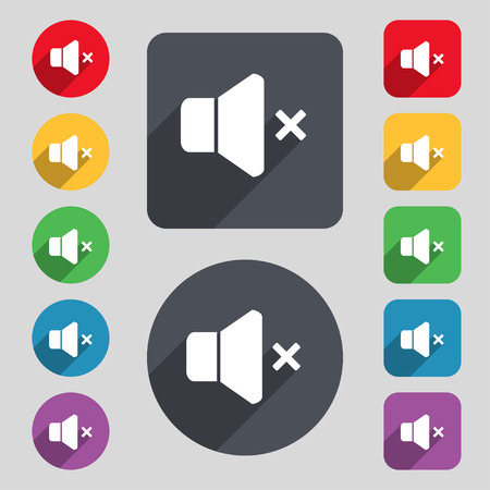 computer socket: No Volume icon sign. A set of 12 colored buttons and a long shadow. Flat design. Vector illustration Illustration