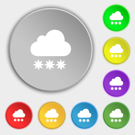 stormy clouds: snow cloud icon sign. Symbol on eight flat buttons. Vector illustration