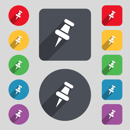 tacks: push pin icon sign. A set of 12 colored buttons and a long shadow. Flat design. Vector illustration Illustration