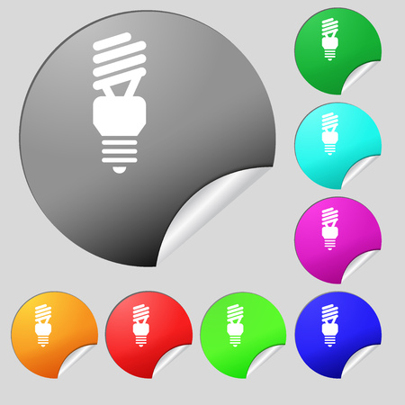 compact fluorescent lightbulb: fluorescent lamp icon sign. Set of eight multi colored round buttons, stickers. Vector illustration