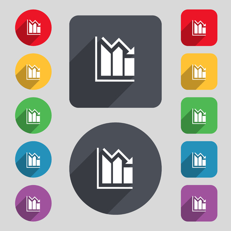 uptrend: histogram icon sign. A set of 12 colored buttons and a long shadow. Flat design. Vector illustration Illustration