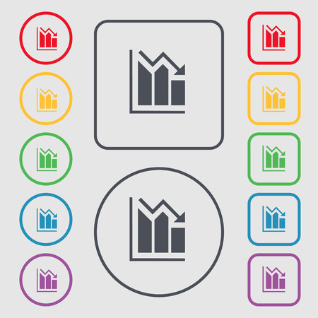 uptrend: histogram icon sign. symbol on the Round and square buttons with frame. Vector illustration