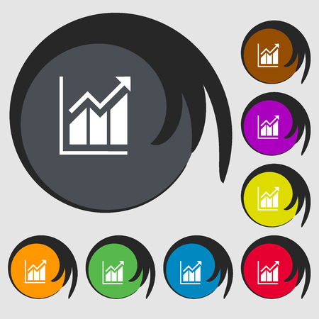 uptrend: Growing bar chart icon. Symbols on eight colored buttons. Vector illustration