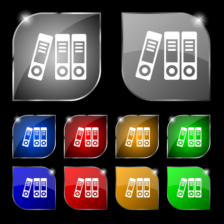 retain: binders  icon sign. Set of ten colorful buttons with glare. Vector illustration Illustration