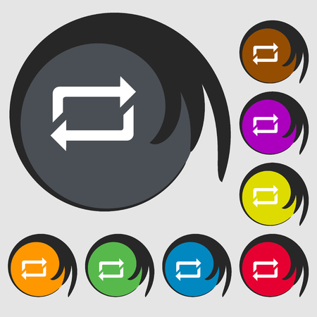 shuffle: repeat icon. Symbols on eight colored buttons. Vector illustration Illustration