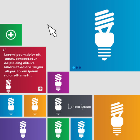 compact fluorescent lightbulb: fluorescent lamp icon sign. buttons. Modern interface website buttons with cursor pointer. Vector illustration