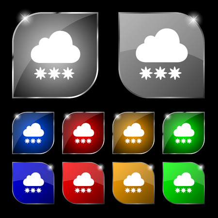 stormy clouds: snow cloud icon sign. Set of ten colorful buttons with glare. Vector illustration Illustration