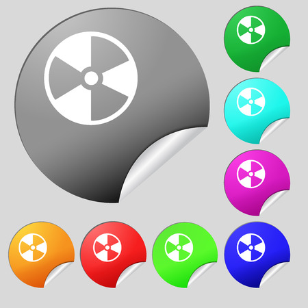 radioactive tank and warning sign: radioactive icon sign. Set of eight multi colored round buttons, stickers. Vector illustration