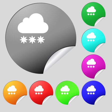 stormy clouds: snow cloud icon sign. Set of eight multi colored round buttons, stickers. Vector illustration