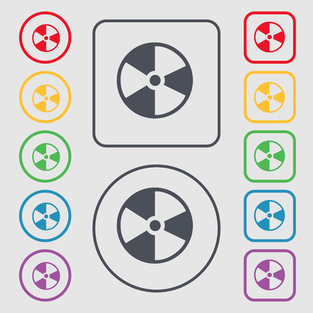 radioactive symbol: radioactive icon sign. symbol on the Round and square buttons with frame. Vector illustration