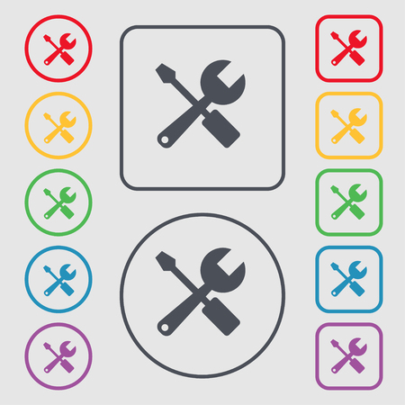 turn screw: wrench and screwdriver icon sign. symbol on the Round and square buttons with frame. Vector illustration Illustration