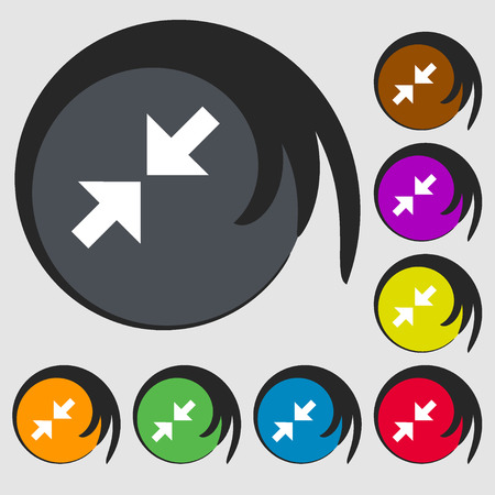 full size: Exit full screen icon. Symbols on eight colored buttons. Vector illustration