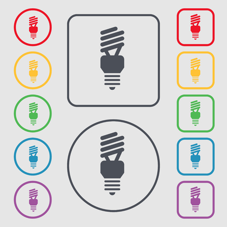 compact fluorescent lightbulb: fluorescent lamp icon sign. symbol on the Round and square buttons with frame. Vector illustration