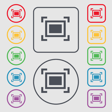 registration mark: Crops and Registration Marks icon sign. symbol on the Round and square buttons with frame. Vector illustration Illustration