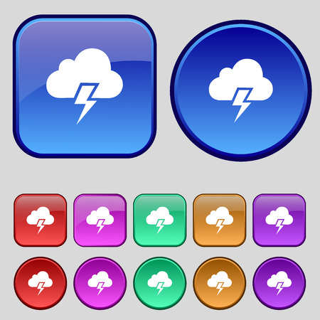 heavy: Heavy thunderstorm icon sign. A set of twelve vintage buttons for your design. Vector illustration Illustration