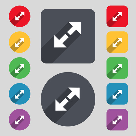 full size: Full screen icon sign. A set of 12 colored buttons and a long shadow. Flat design. Vector illustration