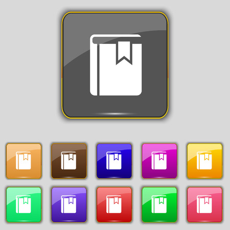 guidebook: Book bookmark icon sign. Set with eleven colored buttons for your site. Vector illustration