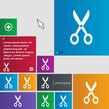 coiffure: Scissors icon sign. buttons. Modern interface website buttons with cursor pointer. Vector illustration