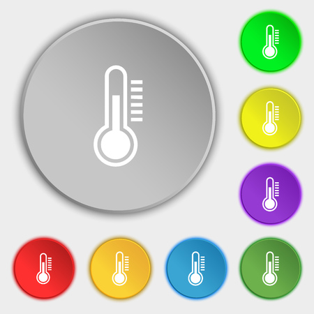 rising temperature: Thermometer icon sign. Symbol on eight flat buttons. Vector illustration