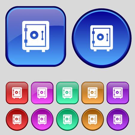 dial lock: safe icon sign. A set of twelve vintage buttons for your design. Vector illustration