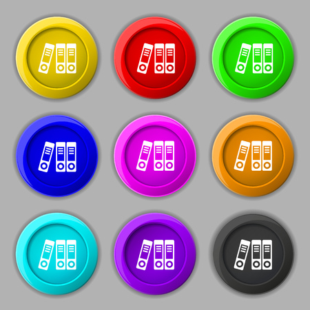 noticeable: binders  icon sign. symbol on nine round colourful buttons. Vector illustration