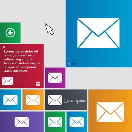 website buttons: Mail, envelope icon sign. buttons. Modern interface website buttons with cursor pointer. Vector illustration