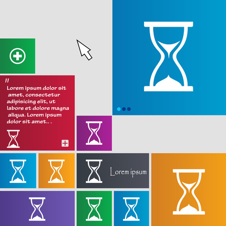 timepieces: hourglass icon sign. buttons. Modern interface website buttons with cursor pointer. Vector illustration Illustration