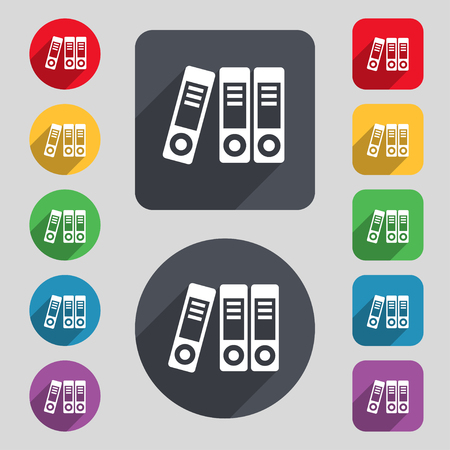 noticeable: binders  icon sign. A set of 12 colored buttons and a long shadow. Flat design. Vector illustration