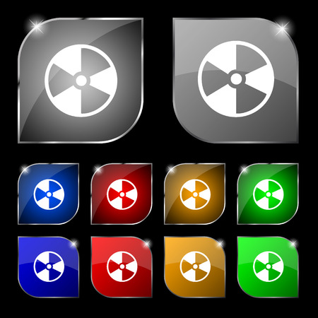 radioactive tank and warning sign: radioactive icon sign. Set of ten colorful buttons with glare. Vector illustration Illustration