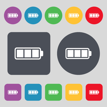 fully: Battery fully charged icon sign. A set of 12 colored buttons. Flat design. Vector illustration Illustration