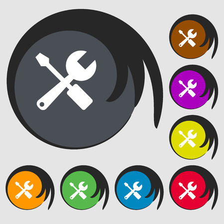 turn screw: wrench and screwdriver icon. Symbols on eight colored buttons. Vector illustration Illustration