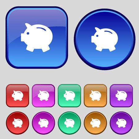 mumps: Piggy bank - saving money icon sign. A set of twelve vintage buttons for your design. Vector illustration Illustration