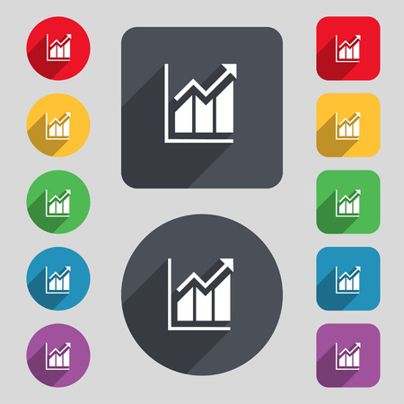 uptrend: Growing bar chart icon sign. A set of 12 colored buttons and a long shadow. Flat design. Vector illustration