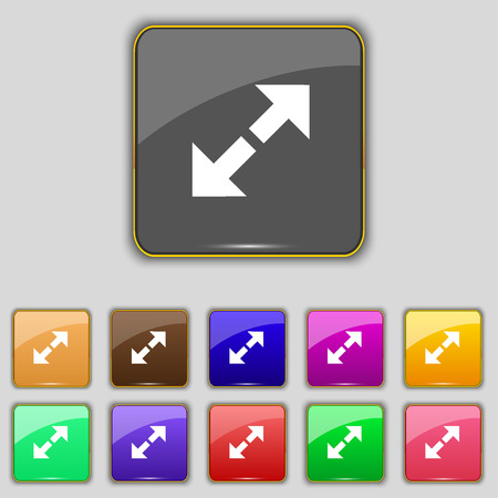 maximize: Full screen icon sign. Set with eleven colored buttons for your site. Vector illustration