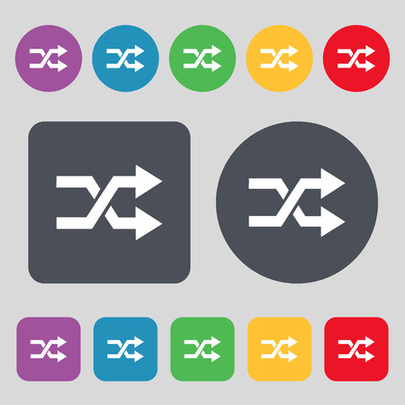 shuffle: shuffle icon sign. A set of 12 colored buttons. Flat design. Vector illustration