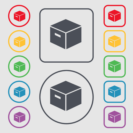 stockpile: packaging cardboard box icon sign. symbol on the Round and square buttons with frame. Vector illustration