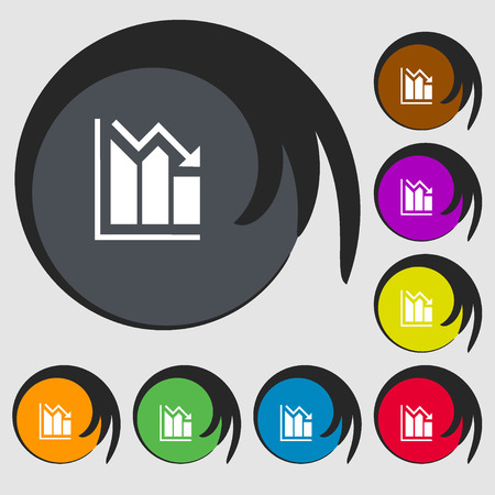 uptrend: histogram icon. Symbols on eight colored buttons. Vector illustration
