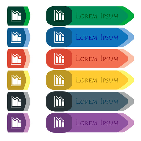 uptrend: histogram icon sign. Set of colorful, bright long buttons with additional small modules. Flat design. Vector