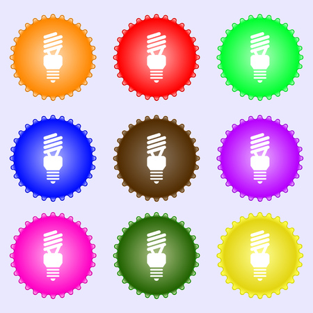 compact fluorescent lightbulb: fluorescent lamp icon sign. A set of nine different colored labels. Vector illustration
