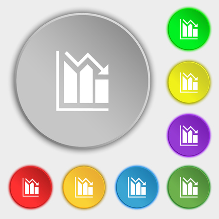 uptrend: histogram icon sign. Symbol on eight flat buttons. Vector illustration