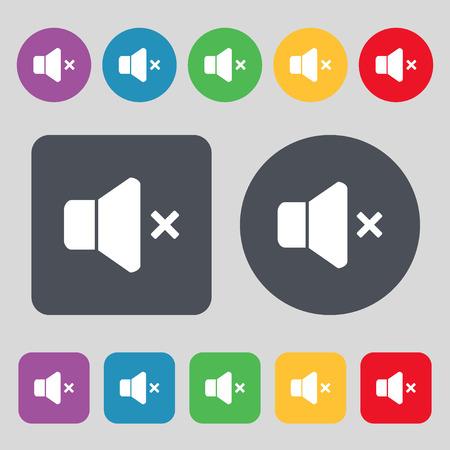 computer socket: No Volume icon sign. A set of 12 colored buttons. Flat design. Vector illustration Illustration